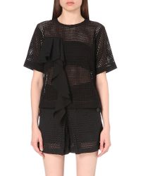 Izzue - Black Rufled Lace Top - Lyst