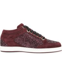 Jimmy Choo Multicolor Miami Galaxy Suede And Glitter Trainers