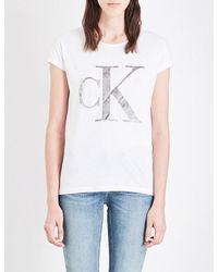Calvin Klein | White Velvet-logo Cotton-jersey T-shirt | Lyst