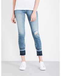 Calvin Klein | Blue Distressed Skinny Mid-rise Jeans | Lyst