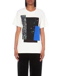 Koche Blue Embellished Patchwork Jersey T-shirt