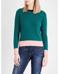 Chinti & Parker Green Ribbed Wool And Cashmere-blend Jumper