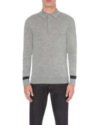Hardy Amies Gray Striped Sleeve Merino Wool Polo Shirt for men