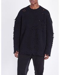 8c38cf2b1e97a Lyst - Yeezy Destroyed Ribbed-knit Jumper in Blue for Men