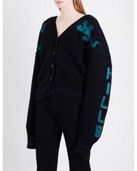 Yeezy Black Season 5 Embroidered Oversized Wool And Angora-blend Cardigan