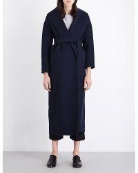 'S Max Mara | Blue Lappula Brushed-wool Wrap Coat | Lyst