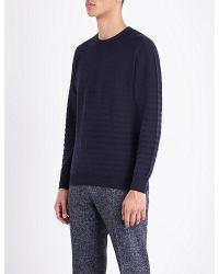 John Smedley - Blue Ladsun Striped Knitted Jumper for Men - Lyst