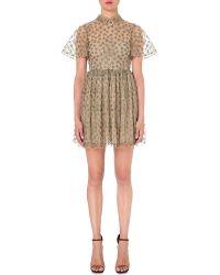 Valentino Metallic Star-embroidered Tulle Dress