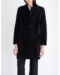 Karl Donoghue | Black Collarless Reversible Shearling Coat | Lyst