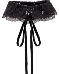 RED Valentino Black Bow-detailed Lace Collar