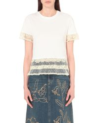 RED Valentino White Lace-trim Cotton T-shirt