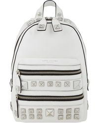 Marc Jacobs White Recruit Chipp Stud Leather Backpack
