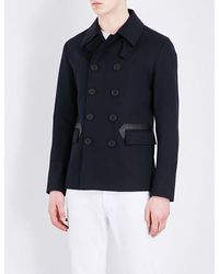 Sandro | Blue Faux Leather-trimmed Cotton-blend Coat for Men | Lyst