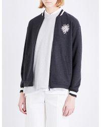 Brunello Cucinelli Multicolor Embellished Cashmere-cotton Blend Bomber Jacket