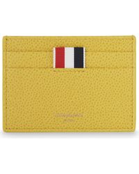 Thom Browne Yellow Pebbled Leather Card Holder