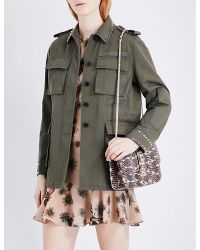 Valentino Multicolor Rockstud Untitled Cotton-twill Field Jacket
