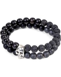 Nialaya | Black Skull Beaded Silver And Onyx Bracelet | Lyst