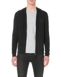 AllSaints - Black Brace Cotton-jersey Hoody for Men - Lyst