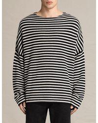 AllSaints Black Marcel Oversized Cotton And Wool-blend Jumper for men