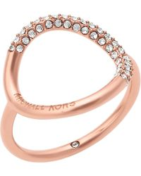 Michael Kors   Pink Brilliance Rose Gold-toned Pavé Ring   Lyst