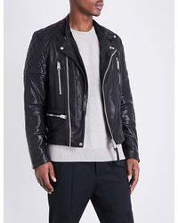 AllSaints Black Quilted Shoulder Leather Jacket for men