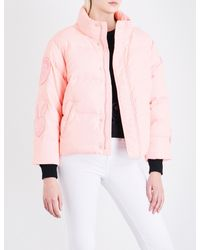 Mini Cream Pink Cropped Shell Down Puffer Jacket