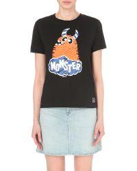 Mini Cream Black Monster-print Cotton-jersey T-shirt