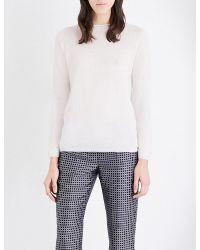 'S Max Mara | White Fine-knit Cashmere And Silk-blend Jumper | Lyst