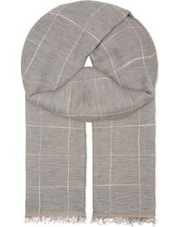 Brunello Cucinelli   Gray Grid Check Cotton & Linen Scarf for Men   Lyst