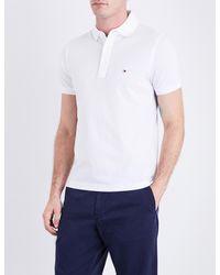 Tommy Hilfiger - White Core Slim-fit Cotton-piqué Polo Shirt for Men - Lyst