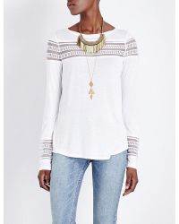 Free People | White Roxie Embroidered Mesh And Jersey Top | Lyst