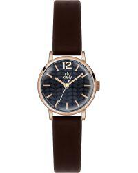 Orla Kiely Black Ok2014 Frankie Leather And Stainless Steel Watch