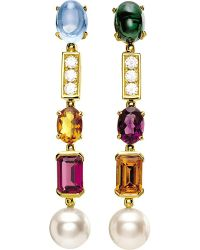 BVLGARI | Coriandoli Allegra 18Ct Yellow-Gold, Gem, Pearl And Diamond Earrings - For Women | Lyst