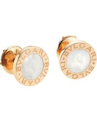BVLGARI | Metallic - Small 18kt Pink-gold Stud Earrings With Mother Of Pearl | Lyst