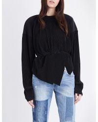 Off-White c/o Virgil Abloh - Black Asymmetric Pleated Sweatshirt - Lyst