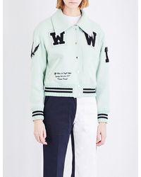 Off-White c/o Virgil Abloh Multicolor Patch Appliqué Wool-blend Varsity Jacket