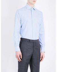Corneliani | Blue Gingham Slim-fit Cotton Shirt for Men | Lyst
