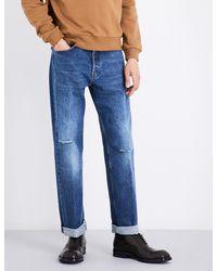 Dries Van Noten Blue Pantherotres Distressed Regular-fit Straight Jeans for men