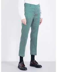 Dries Van Noten Green Paola Tapered Jacquard Trousers for men