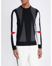 Neil Barrett Multicolor Modernist Knitted Wool Jumper for men