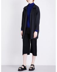 Pleats Please Issey Miyake   Black Stand Collar Pleated Coat   Lyst