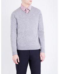 Paul Smith | Gray V-neck Merino Wool Jumper for Men | Lyst