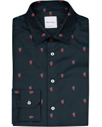 Paul Smith Black Strawberry Print Cotton Shirt for men