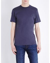 PS by Paul Smith Blue Embossed Logo Cotton-jersey T-shirt for men