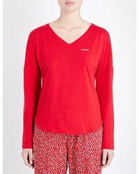 Calvin Klein   Red V-neck Stretch-cotton Pyjama Top   Lyst