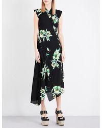 Proenza Schouler Black Floral-print Asymmetric Silk-crepe Dress
