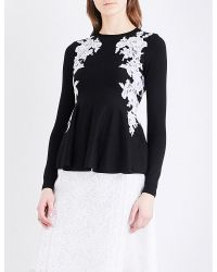 Oscar de la Renta | Black Lace-detailed Wool Jumper | Lyst