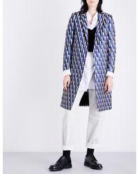 Dries Van Noten Blue Ricks Geometric-jacquard Coat