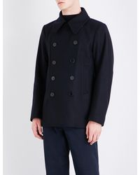 Dries Van Noten Blue Rodrique Double-breasted Wool Coat for men