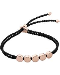 Monica Vinader | Black Linear Bead 18ct Rose-gold Plated Friendship Bracelet | Lyst